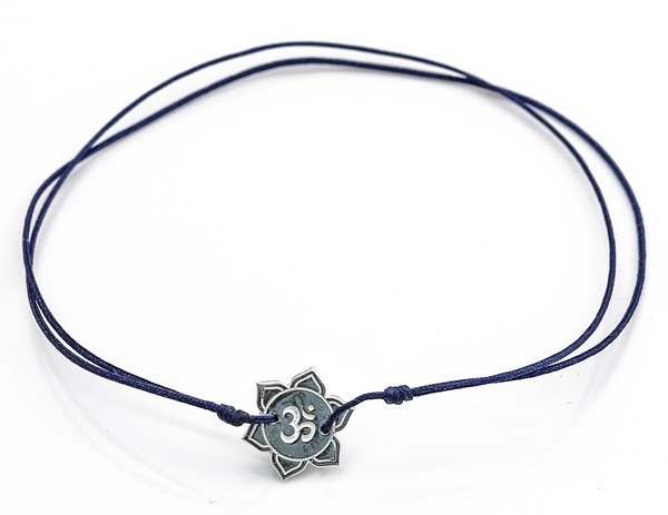 Image de Silber Om-Flower 10mm Armband mit Cord, Silber 925