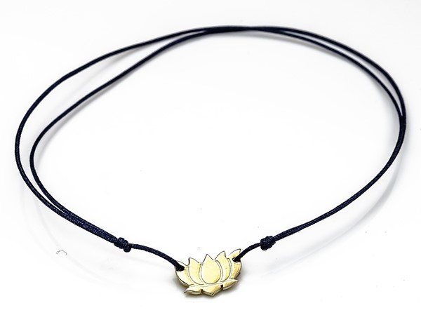 Immagine di Silber Lotus Flower 9mm mit Cord Armband, Silber vergoldet