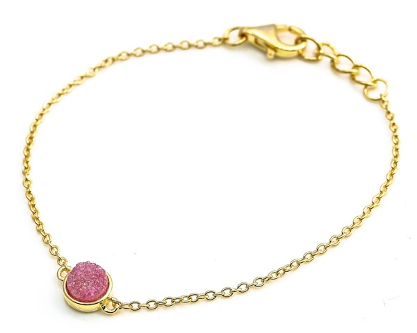 Immagine di Armband  Achat Druzy Pink 7mm 16+2cm, Silber 925