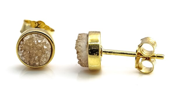 Image de Achat Druzy Champagne 7mm Ohrstecker, Silber 925