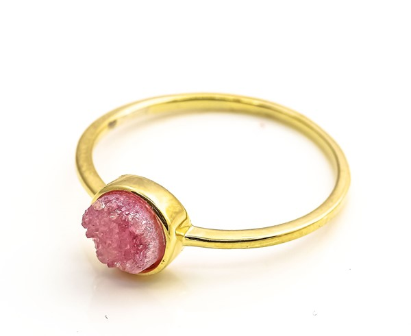 Immagine di Achat Druzy Pink 7mm Ring, Silber 925